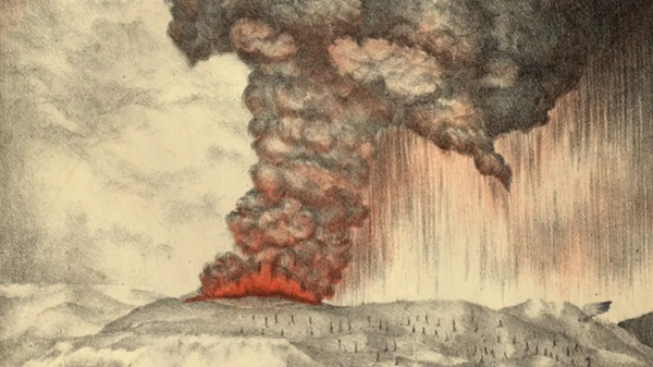 Lithograph of 1883 eruption of Krakatoa