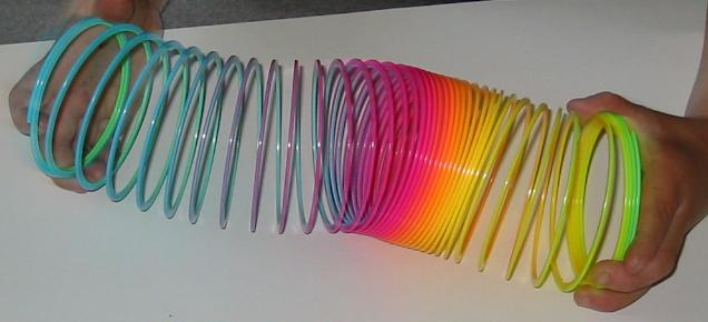 P waves traveling through Slinky