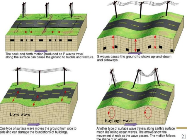 Four types of seismic waves traveling through the Earth.