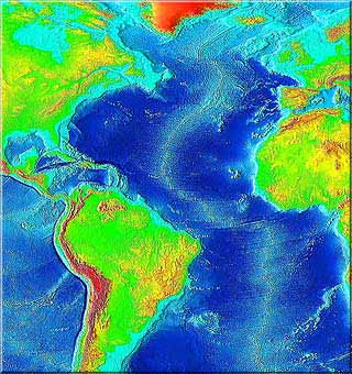 Mid-Atlantic Ridge  runs down center of the Atlantic Ocean NOAA