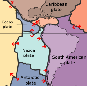 Nazca Plate surrounded by other tectonic plates, USGS