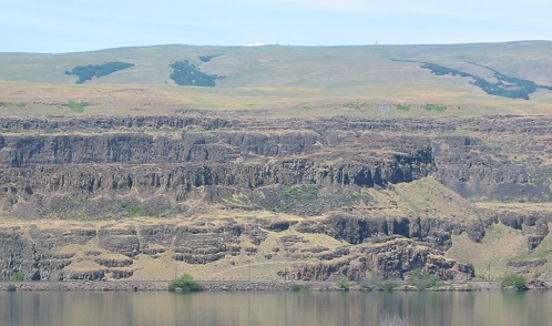 Flood basalts exposed on the Washington side of the Columbia River Gorge.
