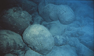 Pillow basalt on the seafloor near Hawaii.  NOAA
