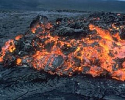 Slow moving aa lava flow that is rough to walk on.