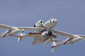 Mother Ship WhiteKnightTwo carrying tourist spaceship aloft