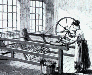 The spinning jenny was created in 1764 by a Lancashire weaver.