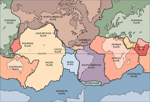Earth's crustal plates. Crustal plates are also known as tectonic plates.