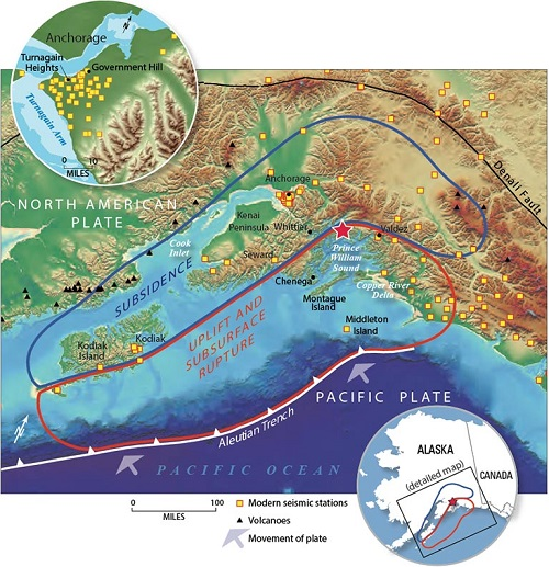 Map of the 1964 Alaska earthquake