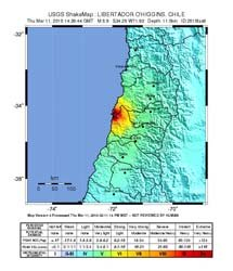 Intensity map of Chile, USGS