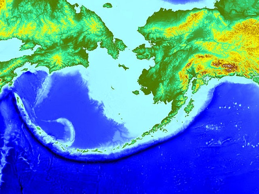 Aleutian Trench is the black line to the south of the Aleutian Islands.