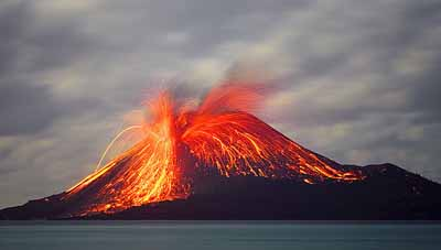 Volcanic island eruption, USGS
