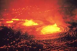 Kilauea Volcano, Halemaumau fountains, May 31, 1954. Photo by J.P. Eaton, USGS